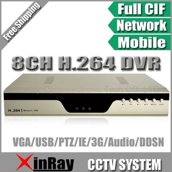Free Shipping , H.264 8CH DVR with 3G Cellphone View with Multi Language,CCTV DVR,XR-7318V