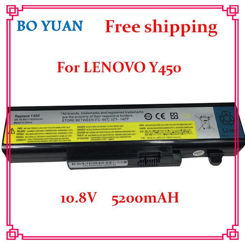 New 5200mAh 6Cell 10.8V Laptop Battery for Lenovo IdeaPad Y450 Y450A Y450G Y550 Y550A Y550P 55Y2054 L08L6D13 L08O6D13 L08S6D13(China (Mainland))
