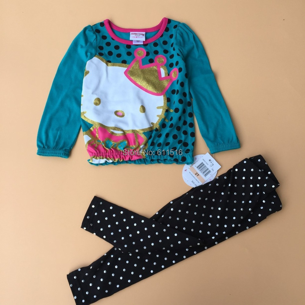 Free Shipping 6 Sets/lot The latest 2-7T Girl Kitty Blue Blouse and Black dots Pants Spring Cotton Outfits<br><br>Aliexpress