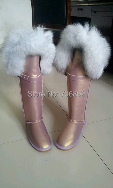 Women's Winter Boots Over The Knee Fur Boots Snow Boots Real Leather