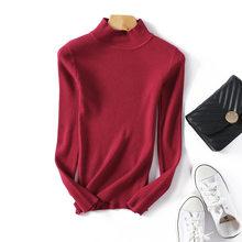 Nouvelle mode automne hiver femmes pulls pull mince demi-cou chaud femme tricoté élasticité chandails pull décontracté(China)