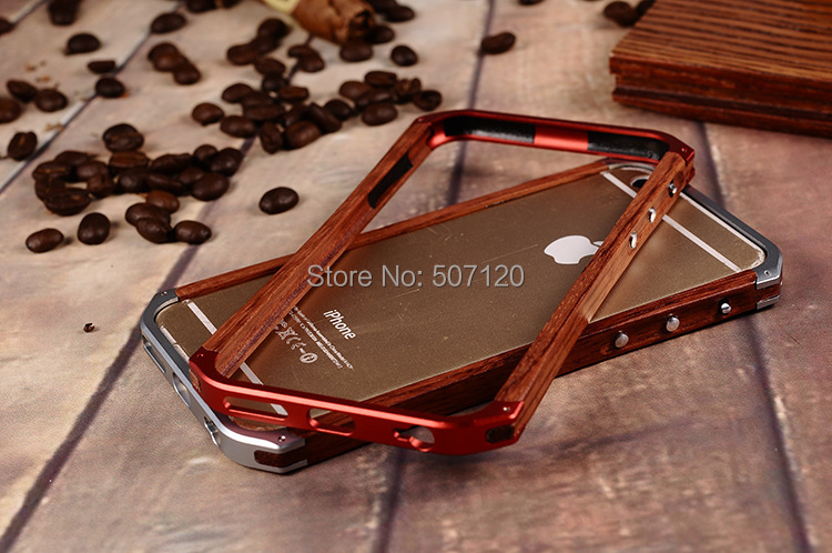 "Best Wooden Case Luxury Wood + Aluminum Metal Bumper Cover For iPhone 6 4.7"" With leather Skin + Retail Package(China (Mainland))"