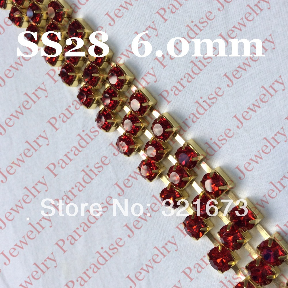 SS28 (6.0mm) Light Siam Rhinestone Cup Chain Trim SEW ON Crystal Glass 5 meters Square Base(China (Mainland))