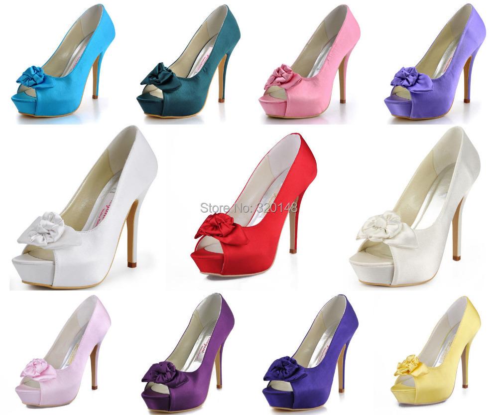"Фотография Elegant Women Evening Party Pumps EP11091-IP Peep Toe Bow Platform 5"" Stiletto Heel Satin Wedding Bridal Shoes"