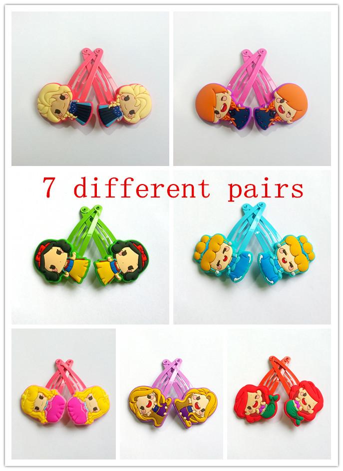 2PCS=1pairs Girls Snow White Sofia Princess Hair Clips Bob Pins Bows Hair Ornaments Hrief Hair pins Hair Accessories Fitas de ca(China (Mainland))