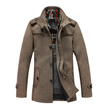 men coat 2015 Winter Fashion Casual Long Style Turn-down Collar Single Breasted Zipper Cashmere Coat Men Plus Size S-5XL colths(China (Mainland))