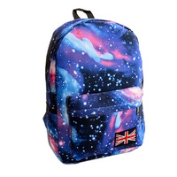 Fashion Women Stars Universe Space printing backpack School Book Backpacks British flag Stars bag free shipping HW03048