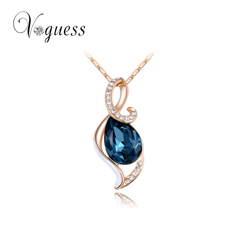 VOGUESS Christmas New Blue Pendant Necklace with Austrain Crystal Rose Gold Plated Hand Made Fashion Cheap Jewelry(China (Mainland))