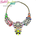 Vintage Shourouk Rainbow Crystal Pearl Flower Chunky Statement Bib Choker Necklace Fashion Jewelry For Women Free
