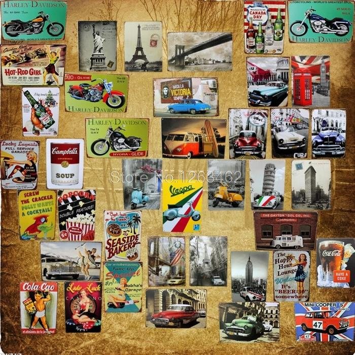 Vintage mixed metal Tin Signs 40pieces/set art wall painting Bar Sofa Home Retro wall decoration 20*30 CM Free shipping