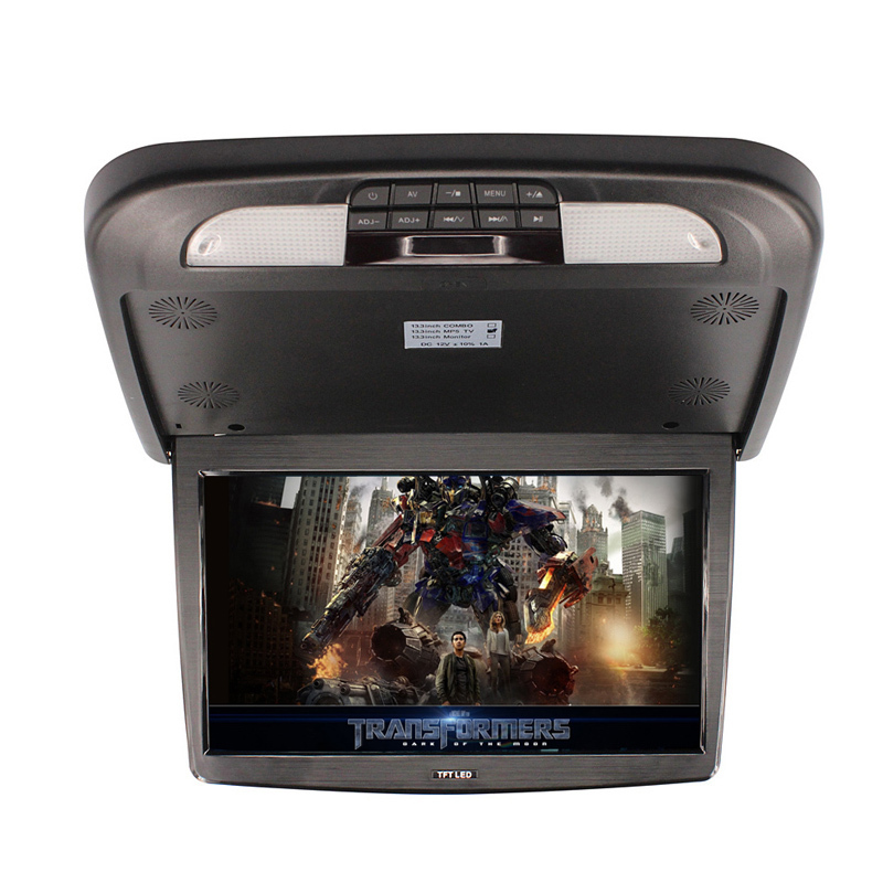 13.3 Inch Flip Down TFT LCD Monitor With MP5 Player car monitor Roof Mount LCD Monitor two video input(China (Mainland))