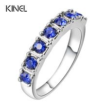 Kinel старинные синий смола кольца для женщин день рождения подарки панк кольцо цвет серебряные ювелирные изделия оптом(China (Mainland))