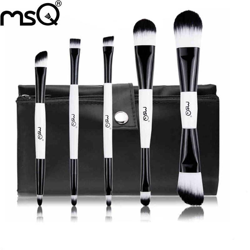MSQ 5 pcs double-end black and white beauty travel makeup brush with portable canvas cosmetic bag Foudation MC Flat brush set<br><br>Aliexpress