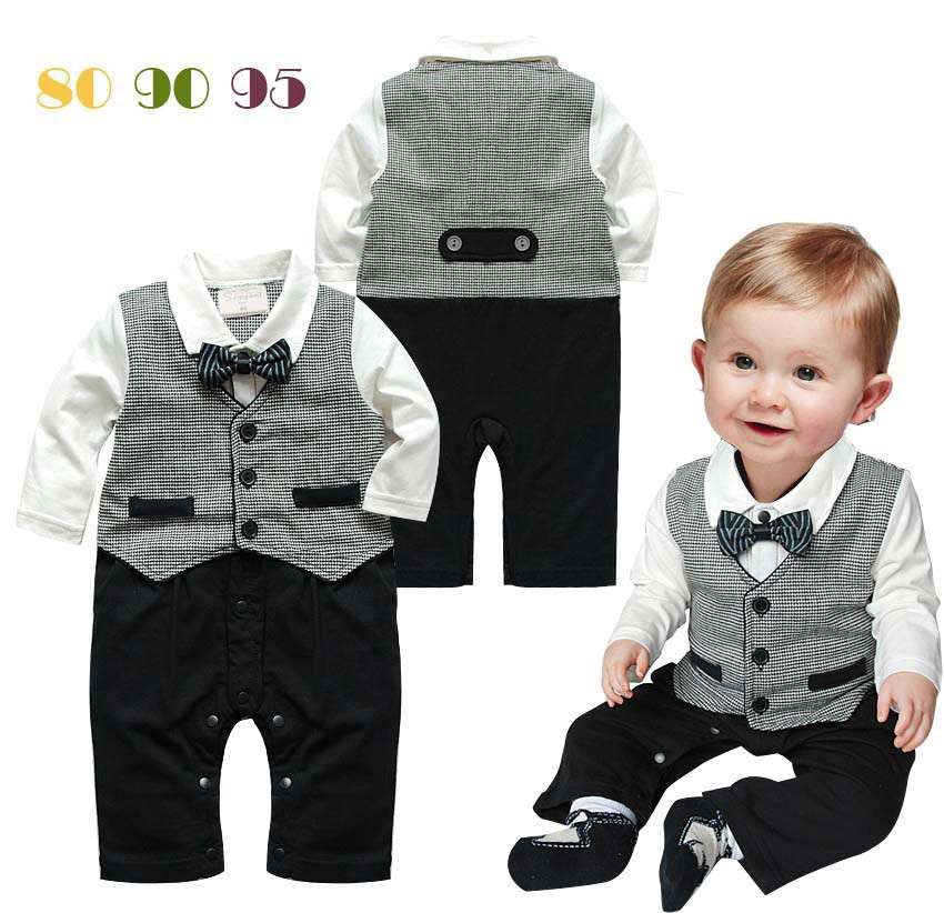 Baby boy fashion Romper Gentleman modelling infant long sleeve Baby boys clothes kids baby suit 2015 new baby boy(China (Mainland))