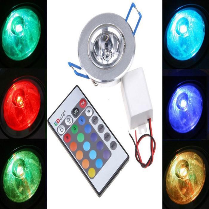 wholesale 10pcs 3W LED RGB Ceiling Light 220V Led Spot Down Light with IR  Remote Controller 85V-265V Wall Lamp Lighting<br><br>Aliexpress