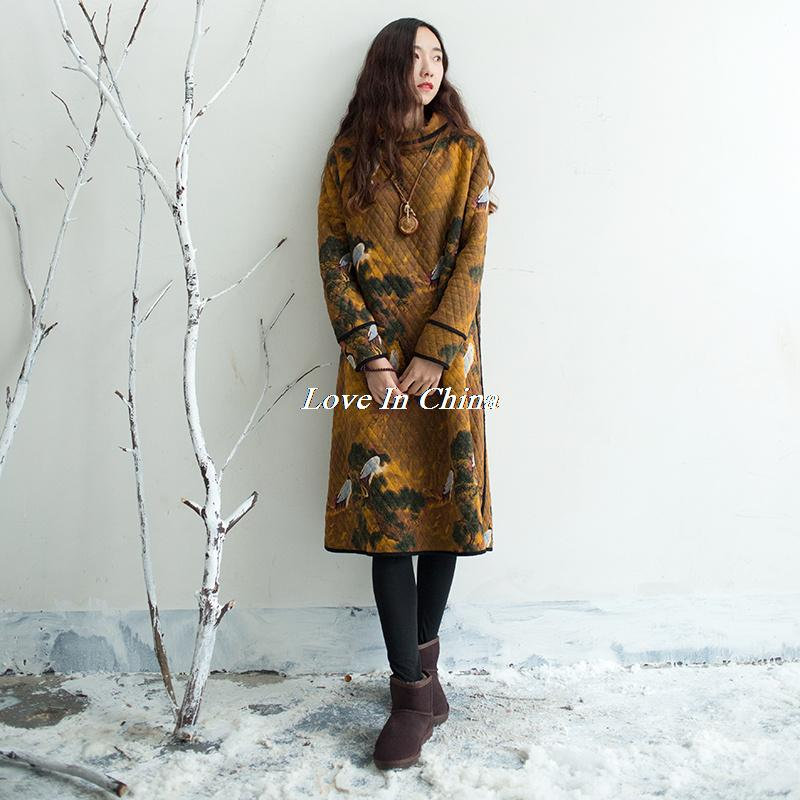 Women national Style Winter Bottoming Cotton Dress Ladies Bird Print Thick Robes Retro Turtleneck Print Chinese Vintage Dresses