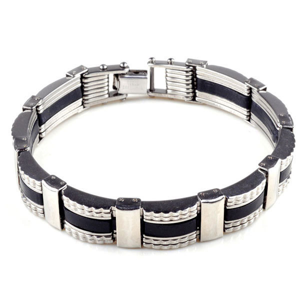 Trendy Men Silicone Stainless Steel Bracelets 316L Stainless Steel Bangle Cuff Bracelets Men pulsera hombre acero