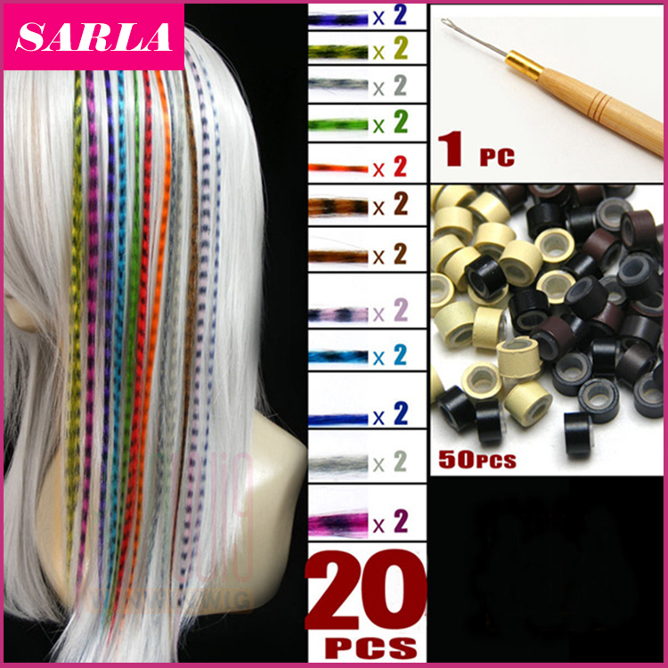 20pcs/lot + 50 Beads+1 pc Hooked Needles On Sale 16inch 40cm Long Grizzly Feather Hair Extensions Hairpiece Multicolor(China (Mainland))