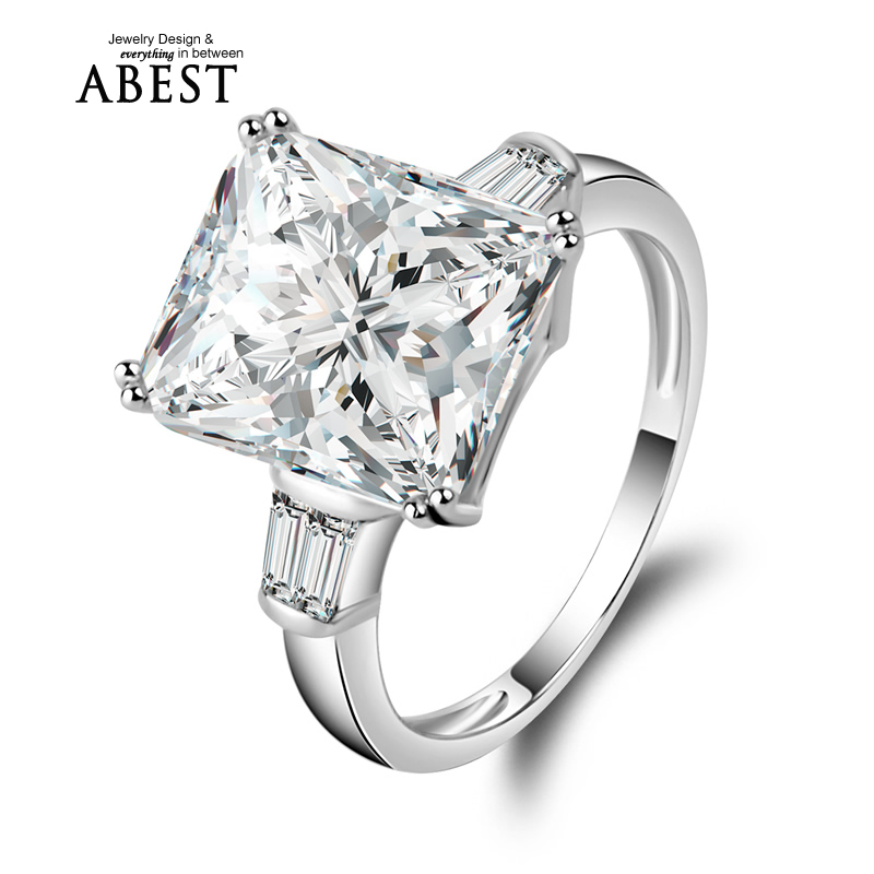 5ct Big Square Rings Rectangle Cut Princess Ring 925 Solid Sterling Silver Gorgeous Jewellry Western Style aneis Wedding Rings(China (Mainland))