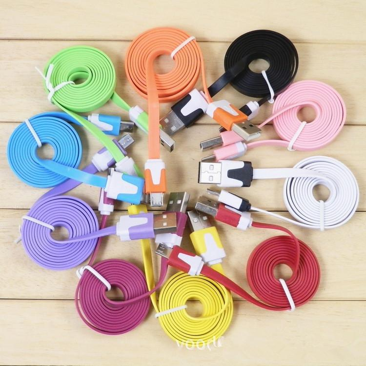 FREE SHIPPING 3 pcs/lot Flat noodle micro usb data cable 1M for cell phone/colorful candy usb charger cable(China (Mainland))
