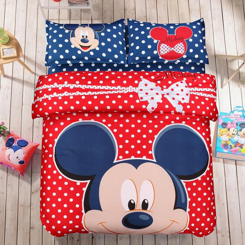 Blue and Red Mickey Mouse Extremly High Quality Cartoon 100% Cotton Kids Brand Bedding Set Fashion Printing 4Pcs Queen/King Size(China (Mainland))