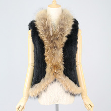 natural rabbit fur vest raccoon dog trim collar women knitted coat fashion gilet winter outfit big size - Genuine Fashion Fur store