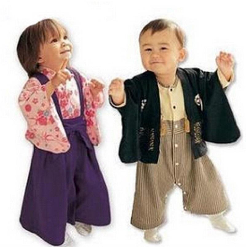 2015 New Baby Boys Girls Clothes Bebes Japanese Kimono style Clothes Newborn Baby Clothing sets boys girls romper + Coat Suit(China (Mainland))