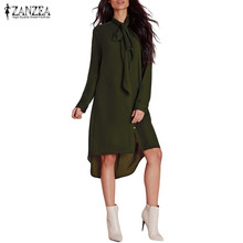 Buy ZANZEA Fashion Blusas Femininas 2017 Women Shirt Dress Bow Long Sleeve Casual Amsymetircal Chiffon Blouse Tops Plus Size S-5XL for $10.23 in AliExpress store