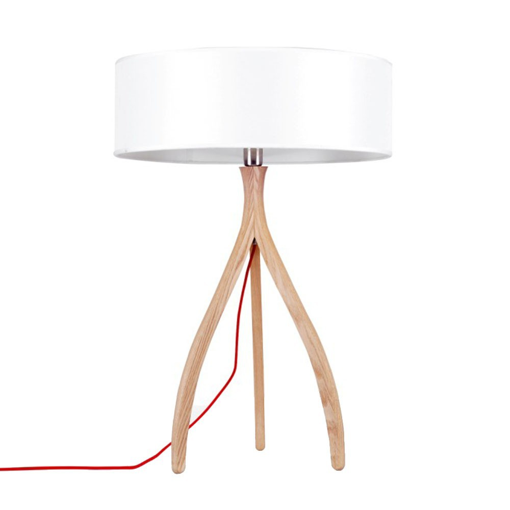 ems free ship table lamps wooden handmade tripod base with white drum shade desk light table. Black Bedroom Furniture Sets. Home Design Ideas