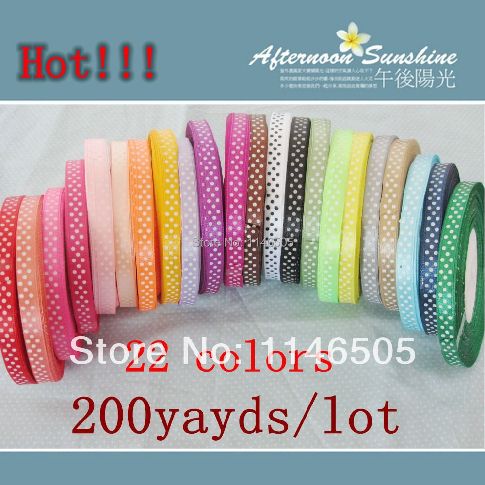 "FREE SHIPPING,200 yards 3/8""(10mm), Lovely 20 colors printed color label with Dot DIY Ribbons Satin Ribbons Decoration Craft(China (Mainland))"