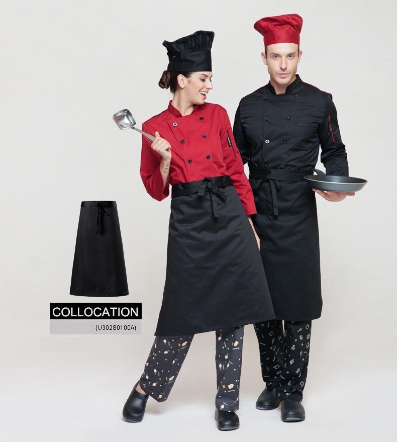 человек поварской униформе, Ресторан шеф-повар куртки, длинные, двубортные черный & красный поварской кухне спецодежду, С10