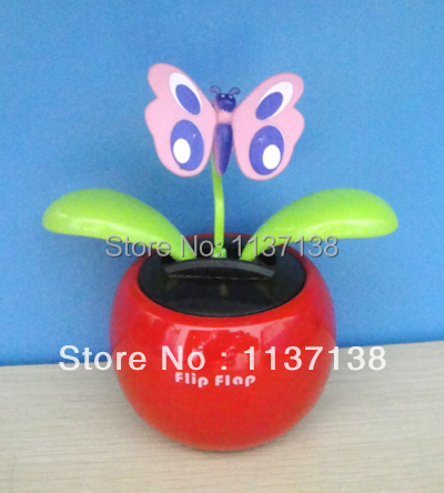 Wholesale 10 Pieces Per Lot Magic Cute Batterfly No Battery No Water Red Swing Novelty Solar Flip Flap Dancing Flower(China (Mainland))