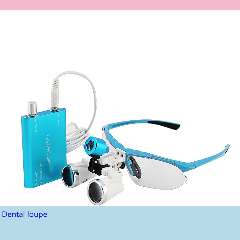 CE Proved Dental equipment Surgical Medical dental Loupes dental glasses 3.5X 420mm +LED Head Light Lamp Blue dental Loupes(China (Mainland))
