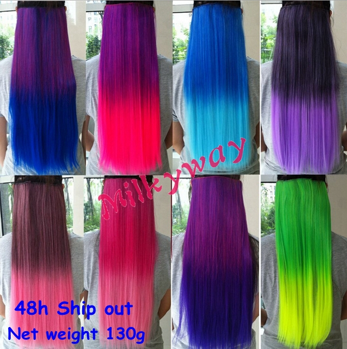 Free Shipping 5 combs Ombre two tone Clip in Hair Extension 120g 60cm 24inch length heat resistant fading clip on hair weft(China (Mainland))