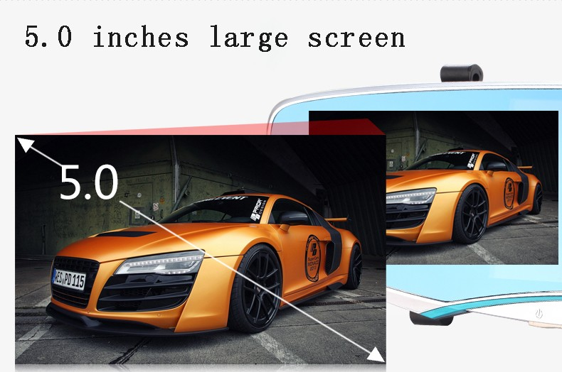 "5"" inch car camera rearview mirror auto dvrs cars dvr dual lens recorder video registrator dash cam full hd1080p night vision"