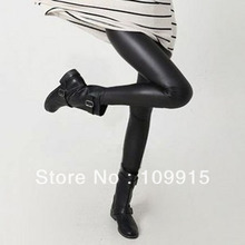 Free dropshipping Women Hot Sexy Black Wet Look Faux Leather Leggings Slim Shiny Pants