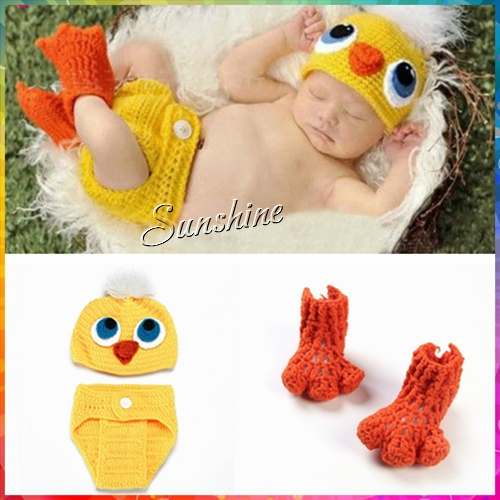 Animal Girl crochet baby winter hat,Duck Knitting baby animal costume,Newborn shoes shorts baby boy hat set #3C2707 5 set/lot(China (Mainland))