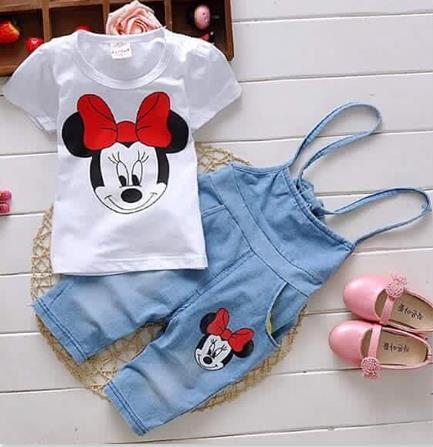 Free shipping Retail Cartoon Minnie children clothing set 2 pcs suit girl's dot dress tops shirts + pants whole suits outfits(China (Mainland))