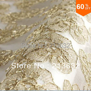 hot Golden france lace flower rose embroidery table cloth flowers wedding flower fabric spun gold garment lace yard organza lace(China (Mainland))