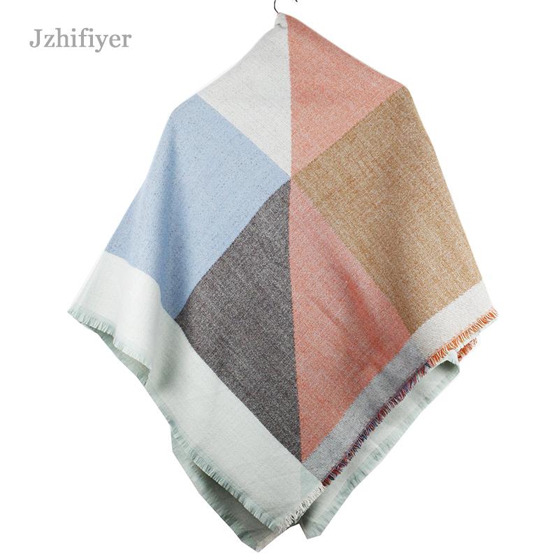 jzhifiyer YX095 360G 135*135cm Winter Ladies Plaid Heavy Shawls Cashmere Blanket Square Scarf Echarpe Hiver Femme Wraps