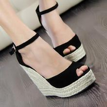 Summer new arrival 2017 women's shoes fashion sexy straw braid buckle open toe platform wedges female 10cm high heels sandals(China (Mainland))