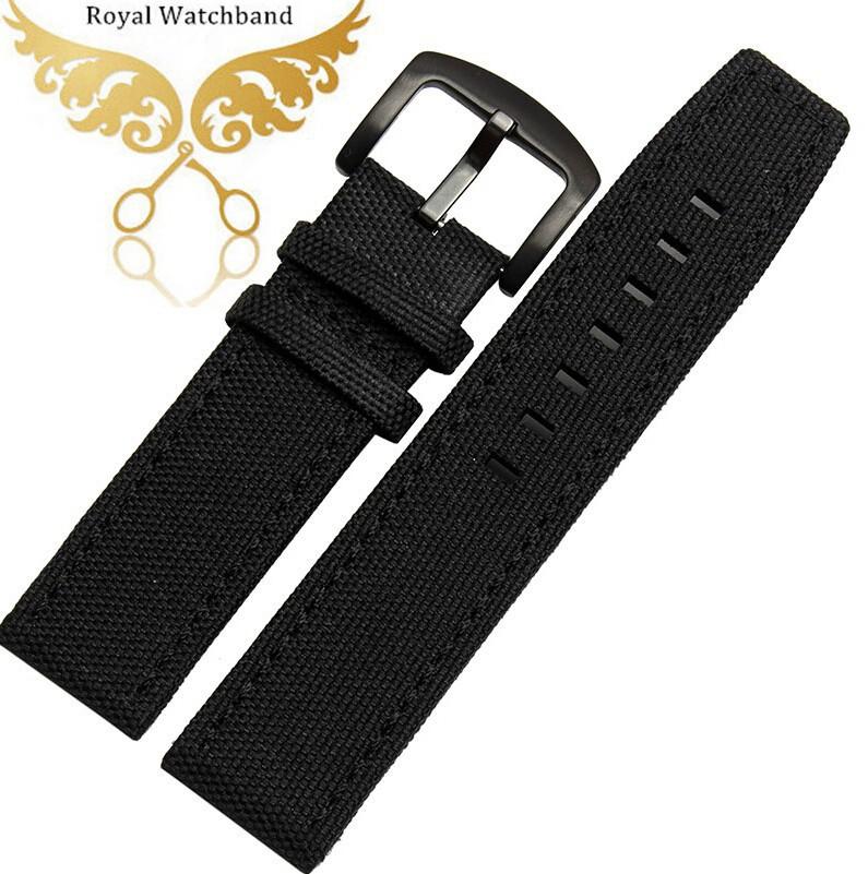 Часы полоса 22 мм новых людей черный высокое качество нейлон / натуральная кожа часы для пилота
