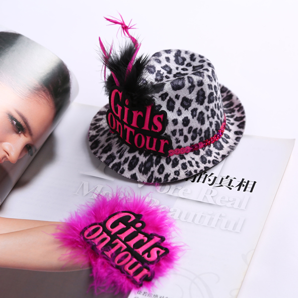 New 2014 Brand New Girl On Tour Products Set:Leopard-print Small Hat And Pink Soft Brooch for Hen Party brides party(China (Mainland))
