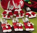 New 6pcs set 3 Pants 3 Jackets Santa Suit Christmas Silverware Holder Pockets Christmas Gift Christmas