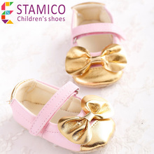 2015 First Walkers Baby Girl's Gold Pink Flower Solid Sneakers Girls Candy Colors Girl Shoes(China (Mainland))