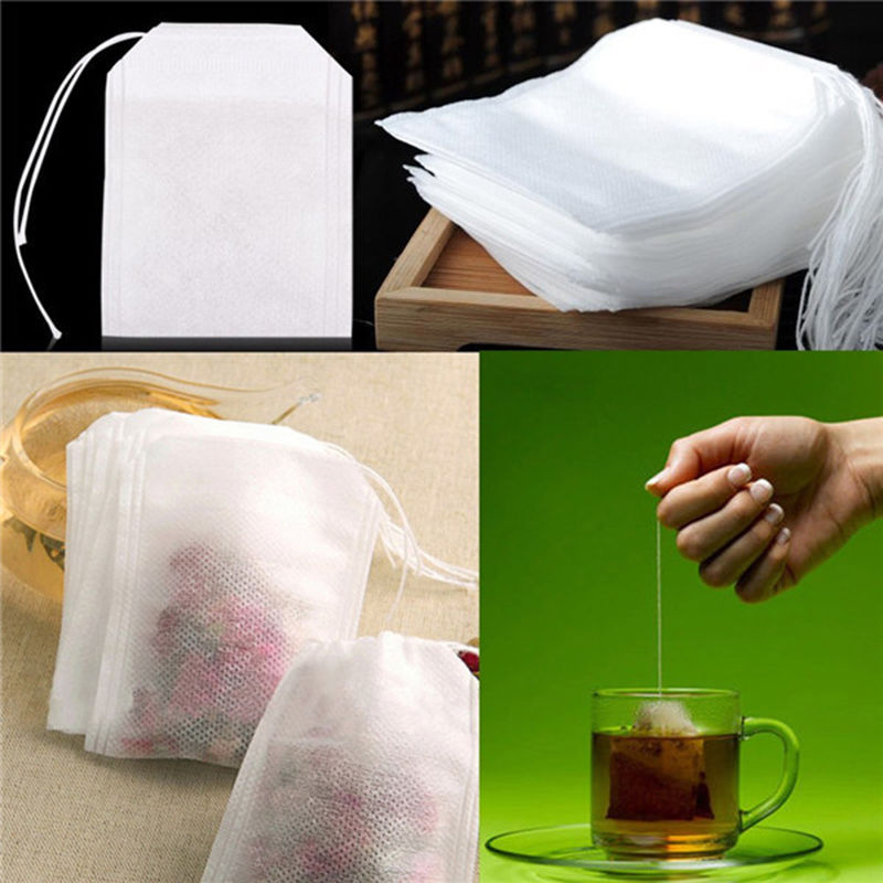 New Teabags 100Pcs/Lot 5.5 x 7CM Empty Tea Bags With String Heal Seal Filter Paper for Herb Loose Tea(China (Mainland))