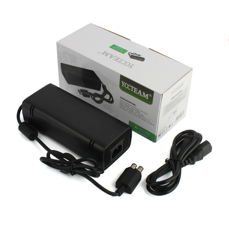 YCCTEAM For Microsoft for Xbox 360 Slim Adapter AC 110V-240V Charging Power Supply Charger Cord Cable US/EU/UK Plug retail box(China (Mainland))