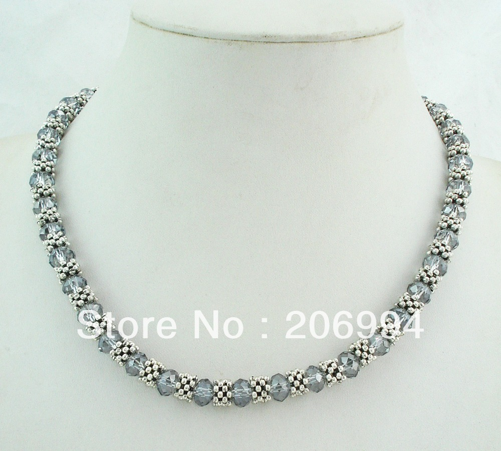 designer necklace 18'' 6*8MM Grey glass Crystal & Tibet Silver Choker Collar Necklace 2pc/lot gift fashion jewelry(China (Mainland))