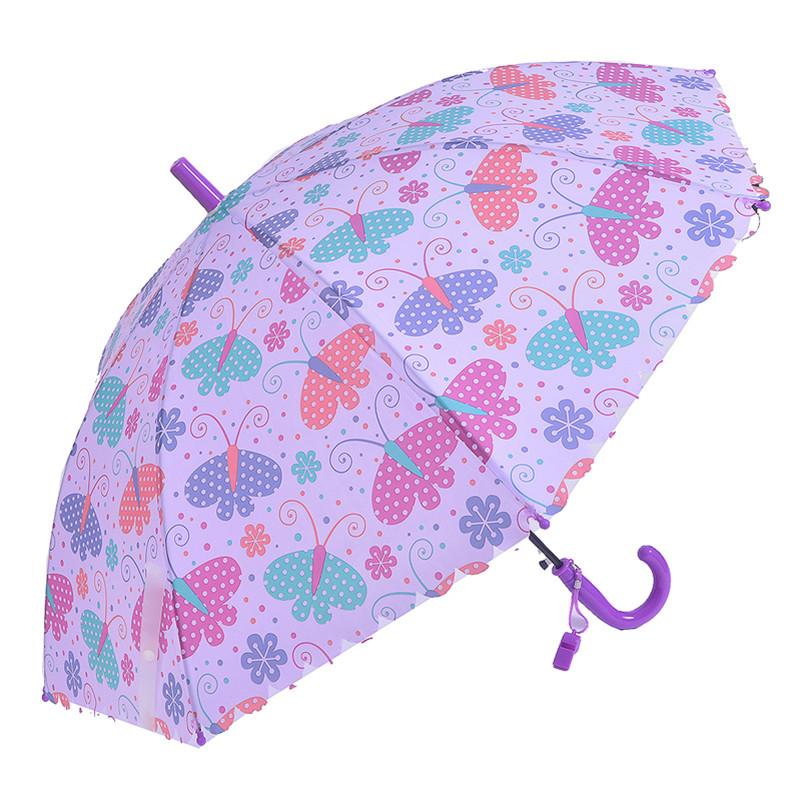 Children Umbrella Creative Whistle Butterfly Purple Umbrellas Kids Umbrella For Girl Long Curved Handle Cartoon Animal Umbrella(China (Mainland))