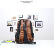 2015 top quality brand fashion black genuine leather men s backpacks preppy style brown women backpack